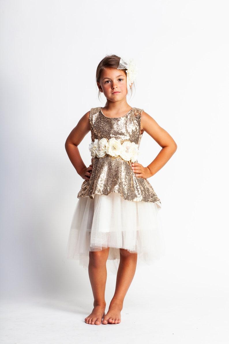 00fbe7fdc9 ivory girls dress,gold sequin dress,flower girl dress,birthday dress,beach  flower girl dress,high low dress,gold glitter dress,toddler dress
