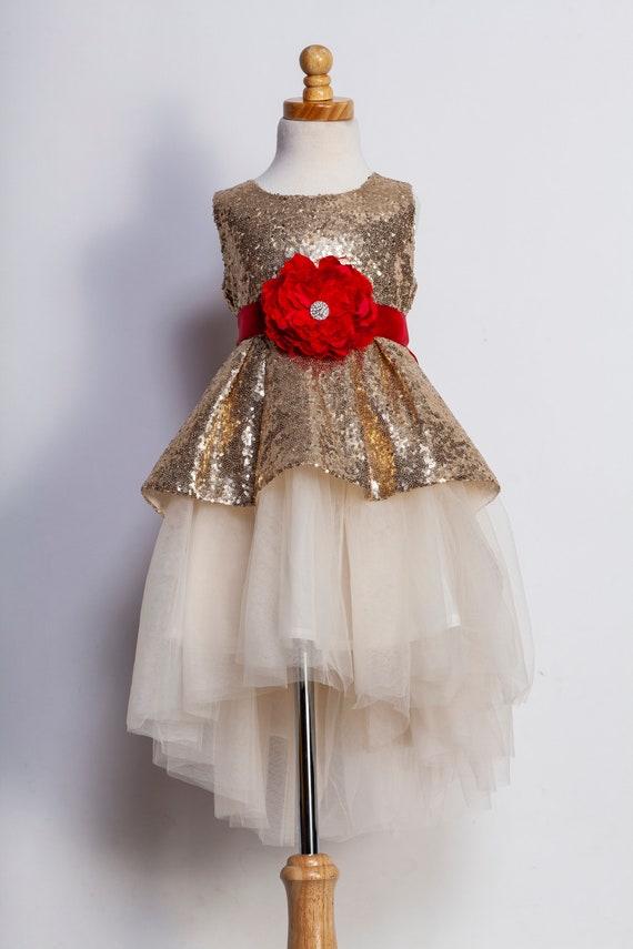 Toddler Christmas Dresses.Girls Christmas Dress Christmas Dresses Fancy Christmas Dress Toddler Christmas Dress Gold Sequin Dress Red Girls Dress Christmas Eve Dress