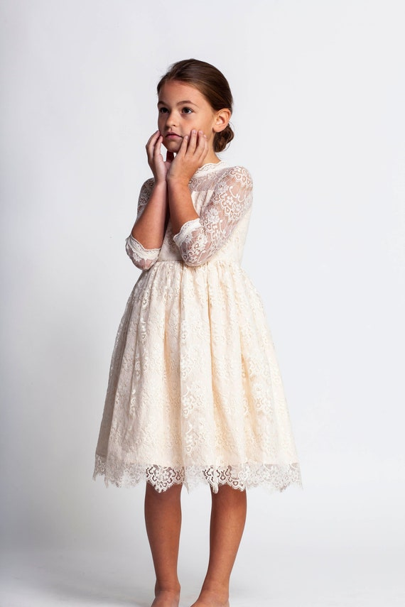 Cream flower girl dress,ivory lace dress,junior bridesmaid dress,formal girls dress,Easter dresses,toddler girls dress,first communion dress