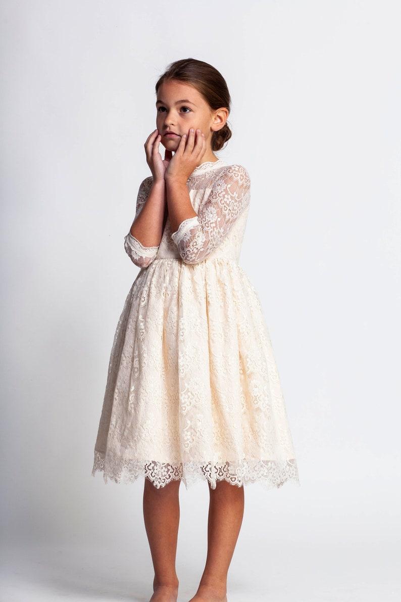 3a7cec7b7d2 Cream flower girl dressivory lace dressjunior bridesmaid