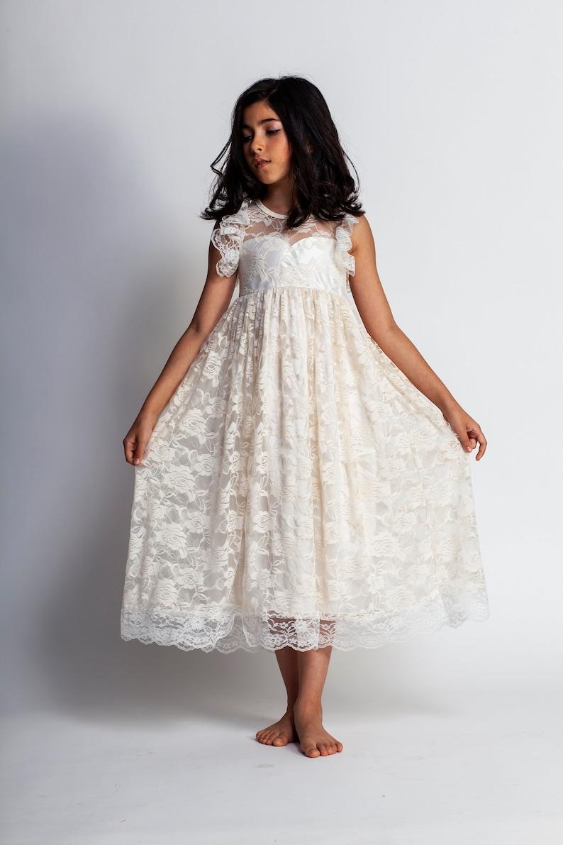 59c79d94bc73 Flower girl dressIvory girls dressboho maxi dressgirls lace | Etsy