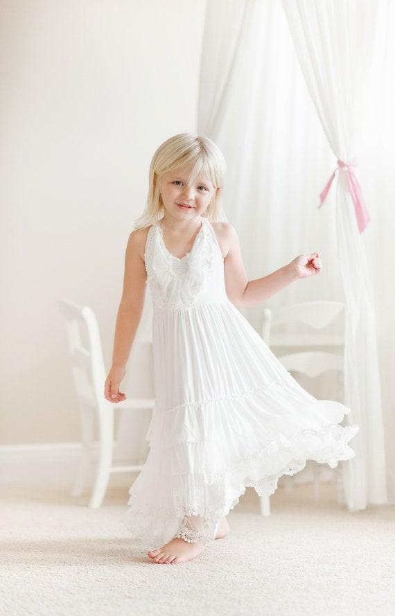 Girls white dress,summer dress,boho maxi dress,beach flower girl,floor length dress,spring dress,baptism dress,lace dresses,bridesmaid
