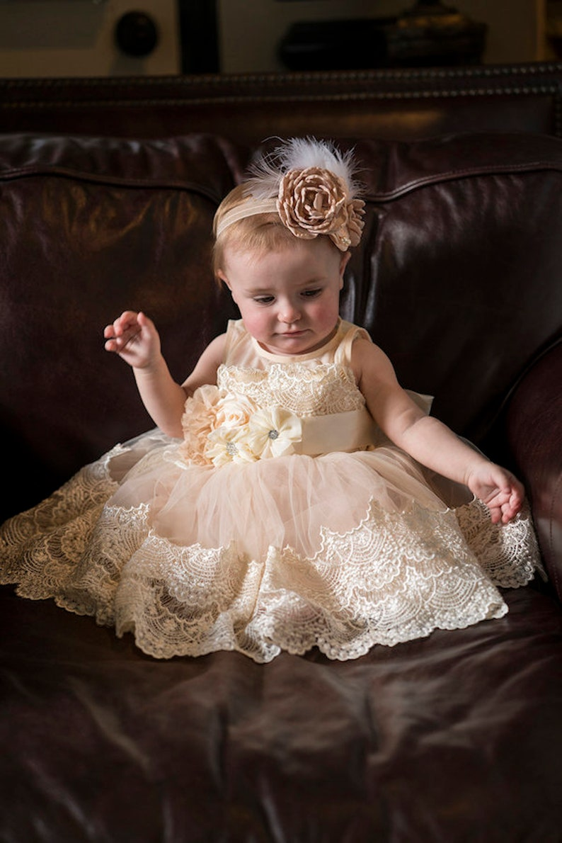 64640389f Gorgeous baby gownivory baptism gownbaby tutubaby flower | Etsy