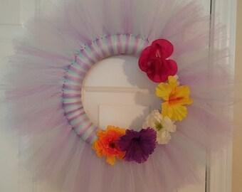 Spring Themed Tulle Door Wreath