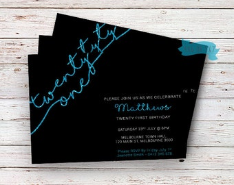 21st Birthday Blue Glitter Invitationtwenty First Adults Invitations 21 Elegant Invitation