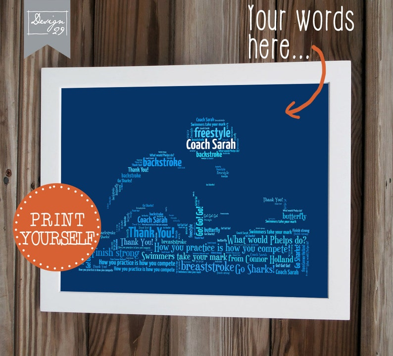 Swim Team - Your Team Names form a swimmer - Coach Captain Trainer  Appreciation Gift - Personalized Word Art - Printable Wall Art