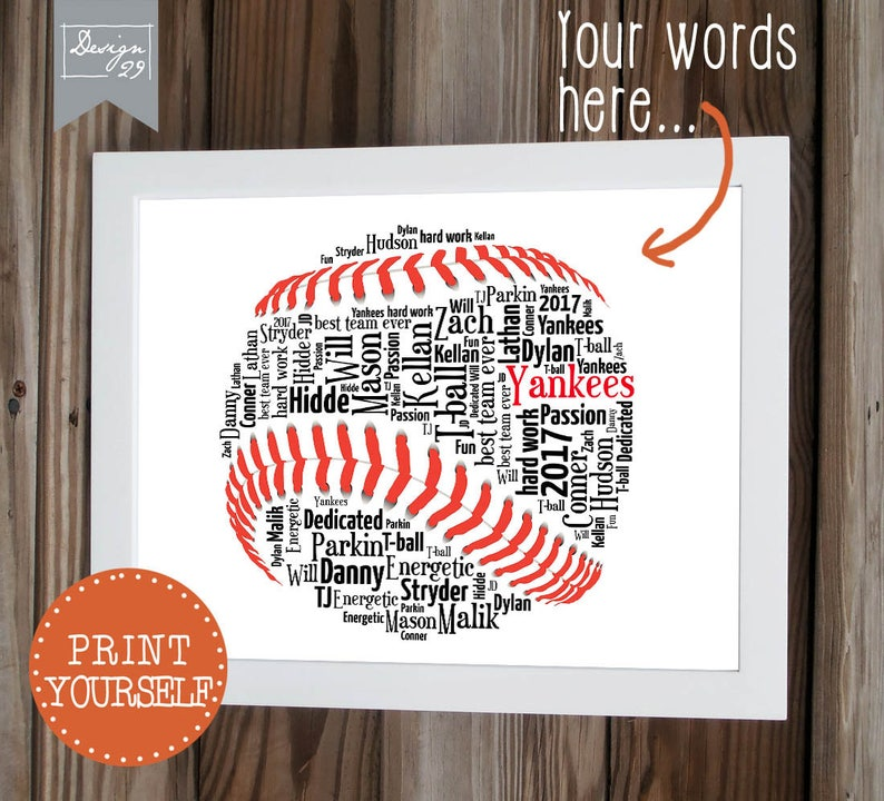 Baseball/Softball - Your Team Names form a Soft Ball - Coach Captain  Trainer Appreciation Gift - Personalized Word Art - Printable Wall Art