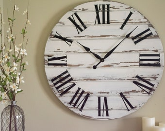 Large Rustic Wall Clock Etsy