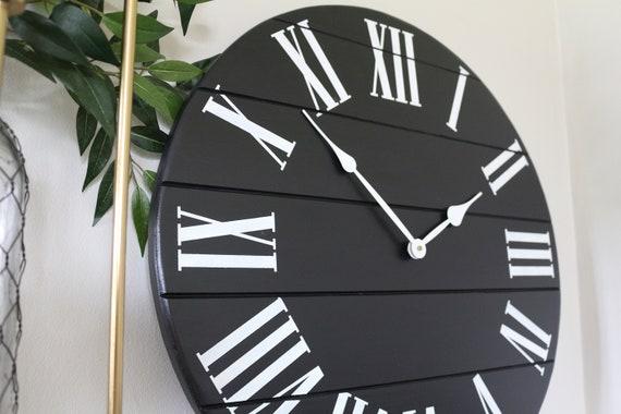 Black Wall Clock Wooden Clock Oversized Farmhouse Decor Etsy