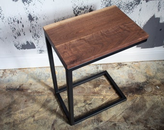 Walnut C Table, Industrial Side Table, Laptop table, coffee table, live-edge table