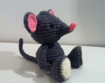 Mouse, Grey Mouse, Handmade Mouse, Soft Toy mouse, Crochet Mouse, Amigurumi Mouse, mouse gift