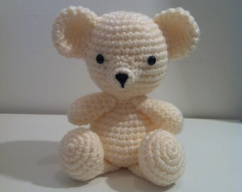 Teddy Bear, Crochet Teddy Bear, Amigurumi Teddy Bear, Stuffed Animal, Handmade Teddy, Soft Toy, Teddy Bear Gift, Cream Teddy Bear