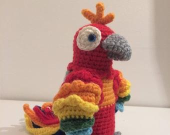 Parrot, Toy Parrot, Amigurumi Parrot, Handmade Parrot, Crochet Parrot, Toy parrot, Rainbow Parrot, Colourful Toy Parrot