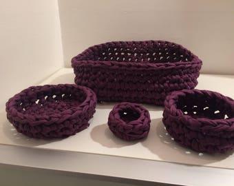 Crochet Bowls,  Storage Bowls,  Set of bowls,  Crochet Storage Bowls, Nesting Bowls, T-Shirt Yarn, Handmade Bowls