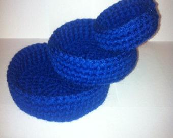 Crochet Bowls,  Storage Bowls,  Set of 3 bowls,  Crochet Storage Bowls, Nesting Bowls, Royal Blue