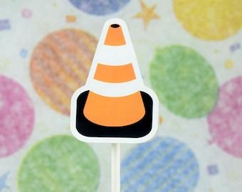 Traffic cone cupcake topper; Caution, construction, orange safety cone