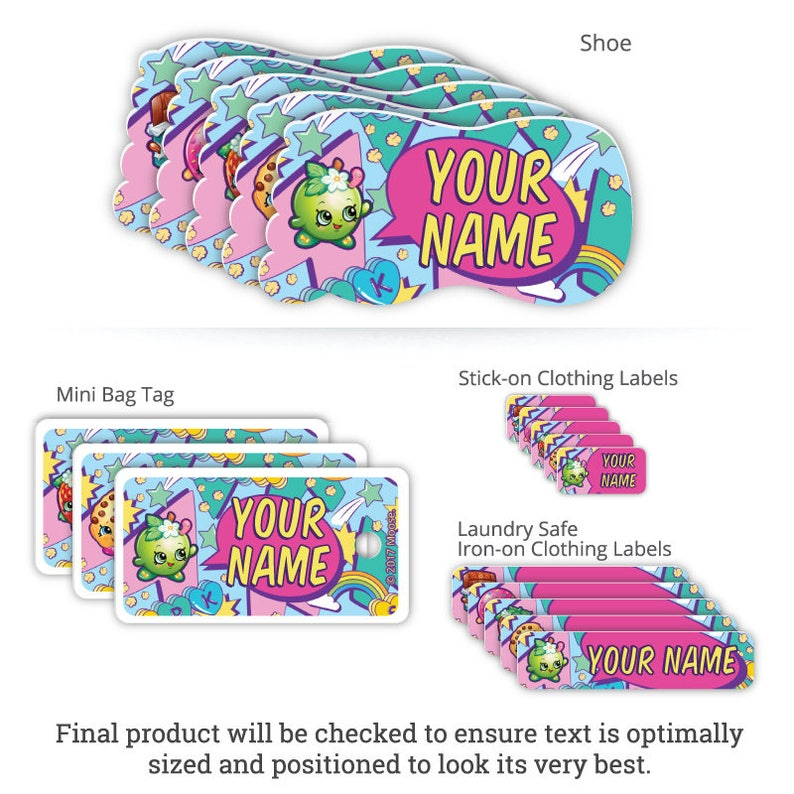 Shopkins™ Personalized Clothing Package for Kids including Labels and Bag  Tags