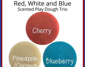 Patriotic Play Dough Trio - Red White and Blue Scented Homemade Play Dough 3 Pack - 4th of July Kids - Independence Day - Squishy Dough