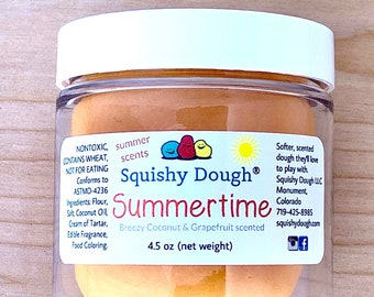 Summertime Squishy Dough - Grapefruit and Coconut Scented Play Dough - Sensory Toy - Aromatherapy Dough - Play Doh - Toys for Kids