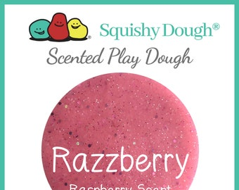 Glittery Pink Raspberry Scented Play Dough - Homemade Play Dough - Pink Glitter Putty - Squishy Dough