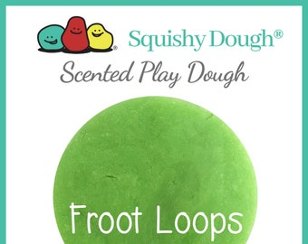 Neon Green Froot Loops Scented Play Dough - Homemade Play Dough - Neon Green Play Dough - Green Putty - Aromatherapy Dough - Squishy Dough