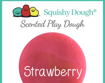 Pink Strawberry Scented Play Dough - Homemade Play Dough - Pink Putty - Squishy Dough