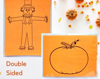 Scarecrow and Pumpkin Play Dough Mat - Double Sided - Fall Play Dough Mats - Play Dough Mat