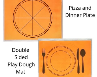 Pizza and Dinner Plate Play Dough Mat - Double Sided - Paly Dough Mat