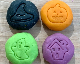 Halloween Play Dough Pack - Orange - Black - Green - Purple - Halloween Activity - Fall Sensory Play - Squishy Dough