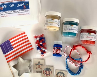 4th of July Play Dough Kit - Patriotic Play - Independence Day - USA Toy - Play Dough Gift Set - Sensory Toy - Montessori - Squishy Dough