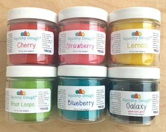 6 Pack Scented Play Dough - 4.5 oz per jar - Squishy Dough - Playdough - Sensory Toy - Gift for Kids - Toddler Activity - Montessori Toy