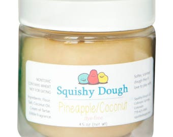 Pineapple Coconut Scented Play Dough - Aromatherapy Toys - Squishy Dough - Toys for Kids - White Putty - Sensory Play - Dye Free Dough