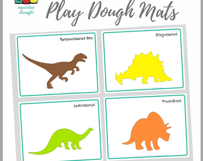 Featured listing image: Dinosaur Play Dough Mats Download - Instant Download - Triceratops - T rex - Stegosaurus - Apatosaurus - Squishy Dough Play Mat