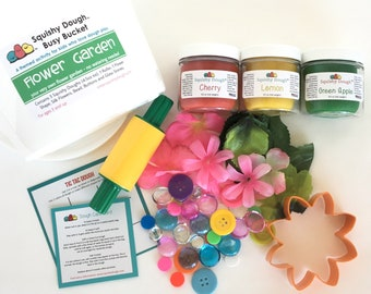 Flower Garden Play Dough Kit - Scented Play Dough - Spring Craft – Summer Sensory Toy – Fine Motor Skills - Waldorf - Squishy Dough