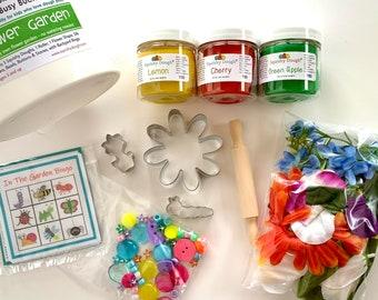 Flower Garden Play Dough Kit - Scented Play Dough - Spring Craft – Summer Sensory Toy – Fine Motor Skills - Waldorf - Squishy Dough
