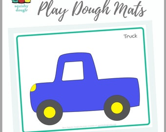 Truck Play Dough Mat Printable - Instant Download - Squishy Dough Play Mat