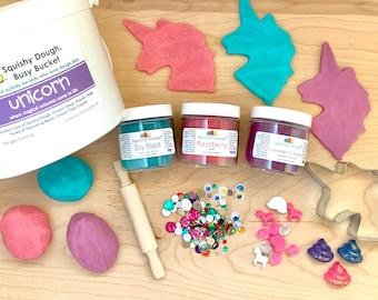 Unicorn Play Dough Kit - Scented Glitter Play Dough - Unicorn Toy - Play Dough Gift Set - Sensory Toy - Squishy Dough