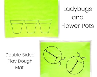 Ladybugs and Flower Pots Play Dough Mat - Double Sided - Spring Play Dough Mats - Ladybugs - Flower Pots - Play Dough Mat