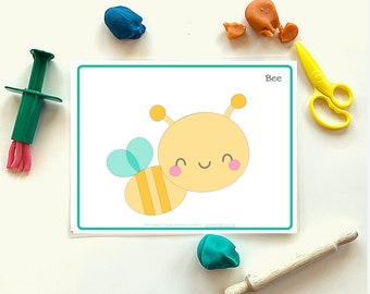 Bee Play Dough Mat Printable - Instant Download - Squishy Dough Play Mat