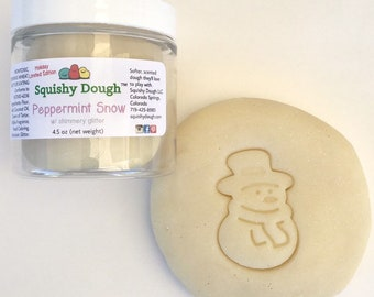 Peppermint Scented Play Dough - Snow Play Dough - Holiday Sensory Play - Glitter Dough - Winter Activity - Sensory Play - Squishy Dough