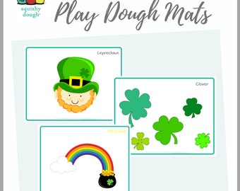 St Patricks Day Play Dough Mat Printables - Instant Download - Squishy Dough Play Mat