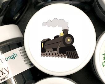 Play Dough Train Engine Party Favors - Homemade Scented Play Dough with Train Engine Labels - Kids Party Favors - Squishy Dough