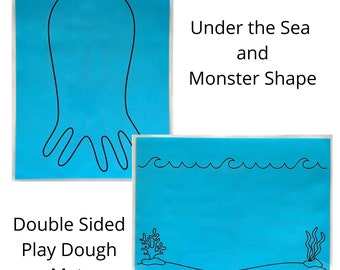 Under the Sea and Monster Shape Play Dough Mat - Double Sided - Play Dough Mat