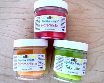 Summer Play Dough 3 Pack - 4.5 oz Size - Watermelon - Key Lime - Grapefruit and Coconut - Summer Play Dough - Sensory Toy - Squishy Dough