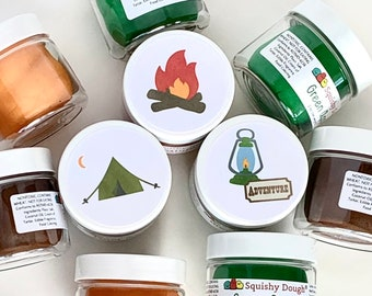 Play Dough Camping Party Favors - Homemade Scented Play Dough with Camping Stickers - Camping Themed Kids Party Favors - Squishy Dough