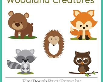 Play Dough Woodland Creatures Party Favors - Homemade Scented Play Dough with Woodland Critter Labels - Kids Party Favors - Squishy Dough