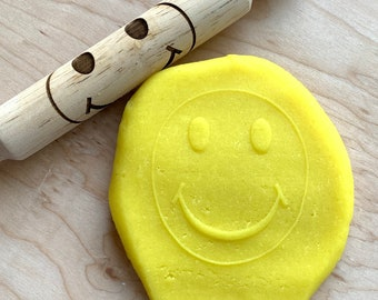 Engraved Wooden Rolling Pin for Kids – Hand Engraved - Wooden Play Dough Tool - Play Dough Roller - Montessori - Waldorf Toys