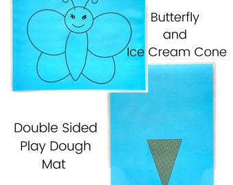 Butterfly and Ice Cream Cone Play Dough Mat - Double Sided - Butterfly - Ice Cream Cone - Play Dough Mat