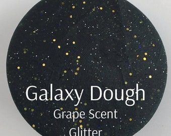 Galaxy Play Dough - Grape Scented Black Glittery Dough - Space Dough - Glitter Dough - Sensory Play - Montessori Toy - Squishy Dough
