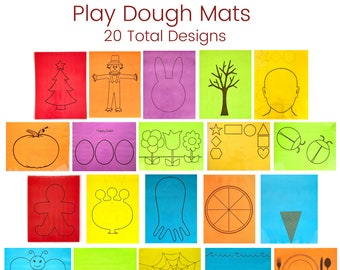 Multi Pack of Play Dough Mats - 10 Mats - Double Sided - 20 Total Designs - Holiday - Educational - Play Dough Mat